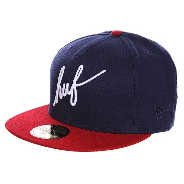Бейсболка New Era Huf Classic Script Navy/Red<br><br>Цвет: синий,красный<br>Тип: Бейсболка с прямым козырьком<br>Возраст: Взрослый