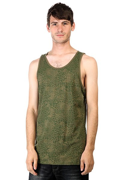 Майка Huf Shell Shock Tank Olive майка huf 12 galaxies tank burgandy heather