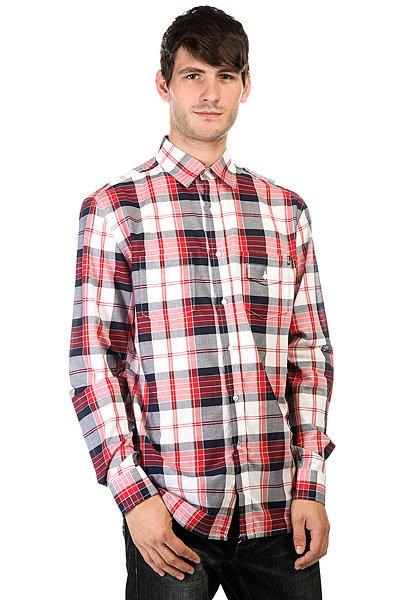 Рубашка в клетку Huf Vamos L/S Woven Navy<br><br>Цвет: красный,белый,синий<br>Тип: Рубашка в клетку<br>Возраст: Взрослый<br>Пол: Мужской