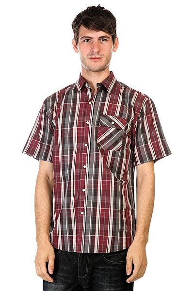Рубашка Huf Fitzgerald Gingham L/S Button Up Burgundy/Grey майка huf surfs up tank black