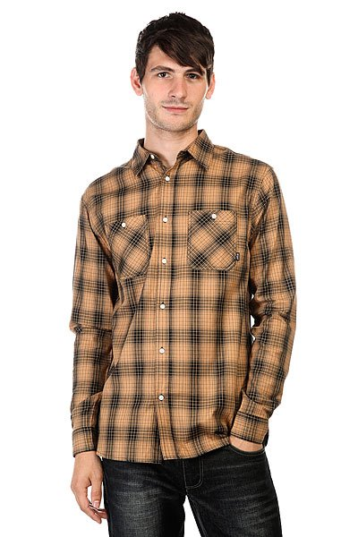 Рубашка Huf Fullerton Shadow Plaid Tobacco
