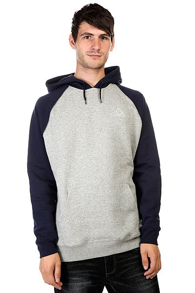 Кенгуру Huf Triple Triangle Raglan Pullover Hoodie Navy/Gray Heather майка huf 12 galaxies tank navy heather