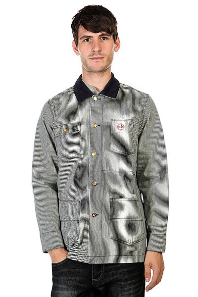 Куртка Huf Rail Coat Navy Fine Stripe<br><br>Цвет: белый,синий<br>Тип: Куртка<br>Возраст: Взрослый<br>Пол: Мужской