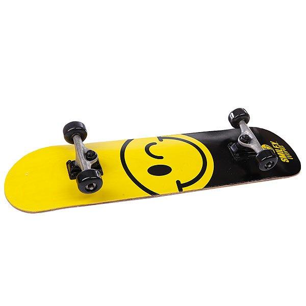 Скейтборд в сборе детский детский Fun4U Smiley Happy Yellow/Black 7.5 (19.1 См)В комплект входит:  Дека Smiley Happy 7.5 (19 см)  Подвески  Колеса 54 mm 92A  Подшипники Abec-1  Винты  Шкурка<br><br>Цвет: черный,желтый<br>Тип: Скейтборд в сборе детский<br>Возраст: Детский