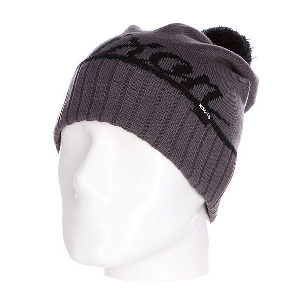 Шапка с помпоном Nixon Union Reversible Beanie Black/Charcoal