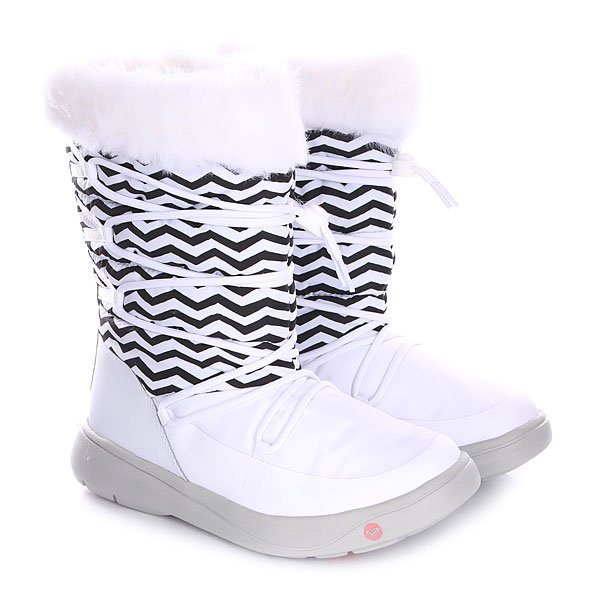 Фото Сапоги зимние женские Roxy Summit J Boot White/Stripe. Купить с доставкой