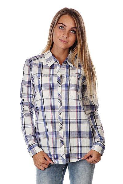 Рубашка в клетку женская Roxy Sneaky Peaks Dotty Plaid Sea<br><br>Цвет: белый,синий<br>Тип: Рубашка в клетку<br>Возраст: Взрослый<br>Пол: Женский