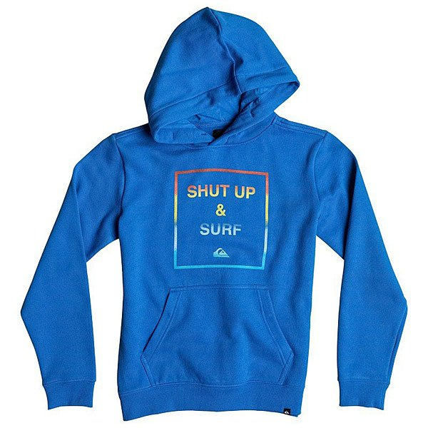 Кенгуру детское Quiksilver Hood Shut Up Youth Victoria BlueQuiksilver приготовил сюрприз и для юных спортсменов!  Оригинальный свитшот с длинными рукавами и вместительным капюшоном! Модель представлена с удобным карманом – кенгуру. Манжеты рукавов и низ изделия окантованы в рубчик. Яркий принт с надписью спереди.<br><br>Цвет: синий<br>Тип: Толстовка кенгуру<br>Возраст: Детский