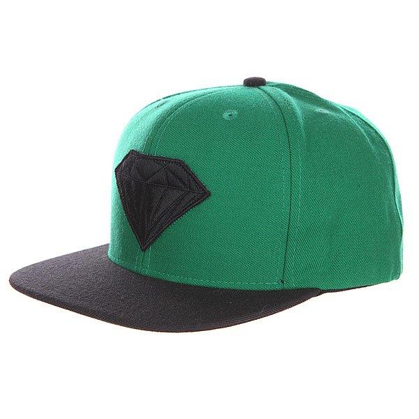 Бейсболка с прямым козырьком Diamond Emblem Green Black<br><br>Цвет: зеленый,черный<br>Тип: Бейсболка с прямым козырьком<br>Возраст: Взрослый<br>Пол: Мужской