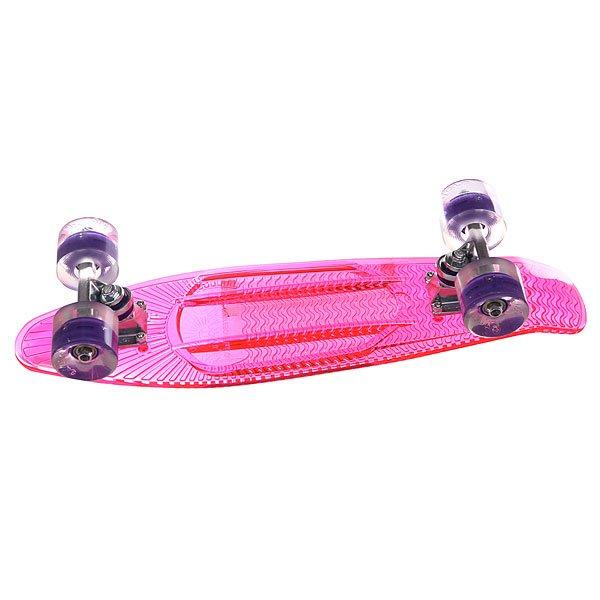 Скейт мини круизер Sunset Princess Complete Fluorescent Pink Deck Blacklight Wheels 6 x 22 (56 см)Красивый, но функциональный .. Скейт Sunset Princess из прозрачного поликарбоната (PC) отлично сочетается с светящимися колесами Flare LED. Стильный днем и ночью, Sunset Princess создан для того, чтобы производить впечатление на окружающих 24 часа в сутки и 7 дней в неделю. Высокая прочность поликарбоната обеспечивает кристально чистую прозрачность, давая оптимальное количество гибкости, веса и прочности. Ультра-прозрачный поликарбонат обычно используется в изготовлении пуленепробиваемых стекол, а уникальная формула с УФ-ингибиторами служит для продления срока службы на открытом воздухе.Технические характеристики: Дека из прозрачного пластика.Светящиеся колеса (без батареек, светятся от движения, срок службы до 100000 часов).Бушинги Thunder. Колеса 69 mm 78A из пластмассы с фирменным логотипом.  Подшипники Abec-7. Подвески: высокопрочные авиационные алюминиевые 3.<br><br>Цвет: розовый<br>Тип: Скейт мини круизер