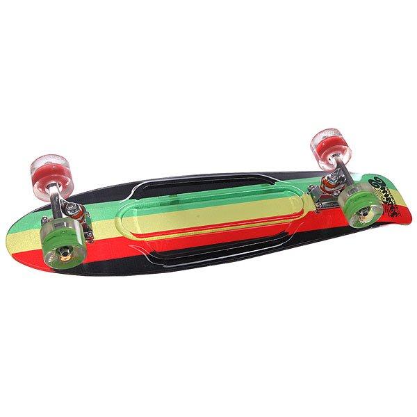 Скейт мини круизер Sunset Rasta Grip Complete Rasta Stripe Deck R/Y/G Red/Green Wheels 7.5 x 27 (69 см)Красивый, но функциональный .. Скейт Rasta из прозрачного поликарбоната (PC) отлично сочетается с светящимися колесами Flare LED. Стильный днем и ночью, Rasta создан для того, чтобы производить впечатление на окружающих 24 часа в сутки и 7 дней в неделю. Высокая прочность поликарбоната обеспечивает кристально чистую прозрачность, давая оптимальное количество гибкости, веса и прочности. Ультра-прозрачный поликарбонат обычно используется в изготовлении пуленепробиваемых стекол, а уникальная формула с УФ-ингибиторами служит для продления срока службы на открытом воздухе.Технические характеристики: Дека из прозрачного пластика.Светящиеся колеса (без батареек, светятся от движения, срок службы до 100000 часов).Бушинги Thunder. Колеса 69 mm 78A из пластмассы с фирменным логотипом.  Подшипники Abec-7. Подвески: высокопрочные авиационные алюминиевые 3.<br><br>Цвет: черный,зеленый,красный,желтый<br>Тип: Скейт мини круизер