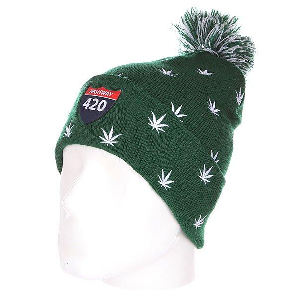 Шапка с помпоном TrueSpin Weedy Pom Beanie Green/White<br><br>Цвет: зеленый,белый<br>Тип: Шапка<br>Возраст: Взрослый