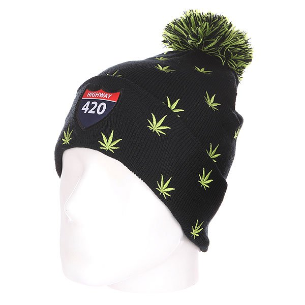 Шапка с помпоном TrueSpin Weedy Pom Beanie Black/Green<br><br>Цвет: зеленый,черный<br>Тип: Шапка<br>Возраст: Взрослый