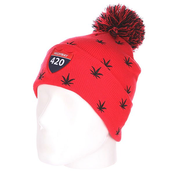 Шапка с помпоном TrueSpin Weedy Pom Beanie Red/Black<br><br>Цвет: красный,черный<br>Тип: Шапка<br>Возраст: Взрослый<br>Пол: Мужской