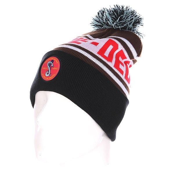 Шапка с помпоном TrueSpin Cobra Pom Beanie Brown/White/Black шапка с помпоном truespin weedy pom beanie red black