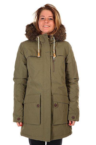 Куртка зимняя женская Roxy Louise Dusty OliveЖенская куртка-парка, которая подойдет как для катания на снежных склонах, так и в городских условиях. Характеристики:Мембрана Dry Flight 5K, водостойкость 5 000 мм, дышащие свойства 5 000 г/кв. м. Утеплитель 3M™ Thinsulate™ type KK™ 240 г (тело) / 180 г (рукава) / 180 г (капюшон). Состав: 100% полиэстер. Подкладка из шерпы и тафты.  Критические швы проклеены. Штормостойкая конструкция. Два нагрудных кармана. Карманы для рук с верхним и боковым доступом. Капюшон со съемной меховой оторочкой. Фасон: парка (parka).<br><br>Цвет: зеленый<br>Тип: Куртка зимняя<br>Возраст: Взрослый<br>Пол: Женский
