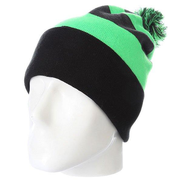 Шапка с помпоном Volcom Stripe Rollover Beanie Electric Green<br><br>Цвет: зеленый,серый,черный<br>Тип: Шапка<br>Возраст: Взрослый<br>Пол: Мужской