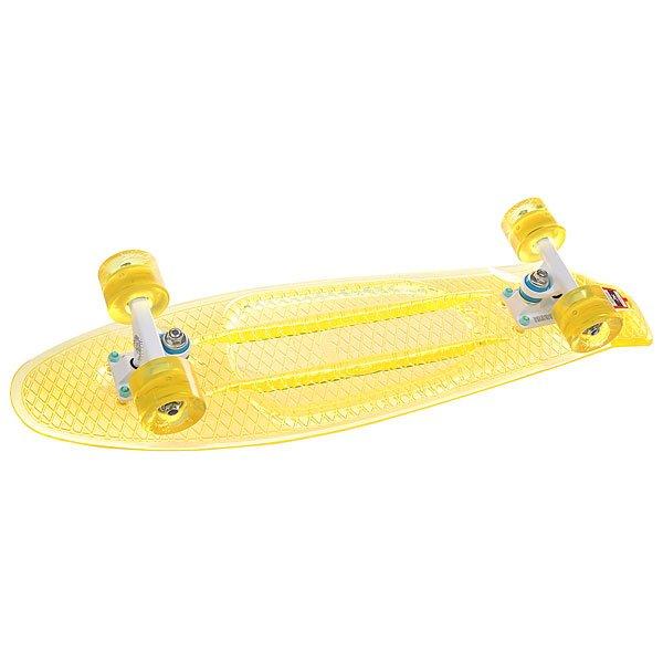 Скейт мини круизер Union Melon 7.5 x 28 (71 см)Пластборд Юнион (Union) - это пластиковый скейтборд-круизер с загнутым хвостом для передвижения по городу и трюкачества. Очень прочная дека, качественные подвески, подшипники и колеса сделают вашу езду плавной и комфортной. Технические характеристики: Дека из прочного полиуретана повышенной прочности и эластичности. Подвески из алюминия. Бушинги Union 89А. Подшипники - Union Water Prof Abec7 (водонепроницаемая конструкция). Колеса - круизного типа Union Virage диаметром 59 мм с стандартной мягкостью 83А. Колеса, которые светятся при езде.Нестирающееся цепкое покрытие. Различные расцветки в ассортименте.<br><br>Цвет: желтый<br>Тип: Скейт мини круизер