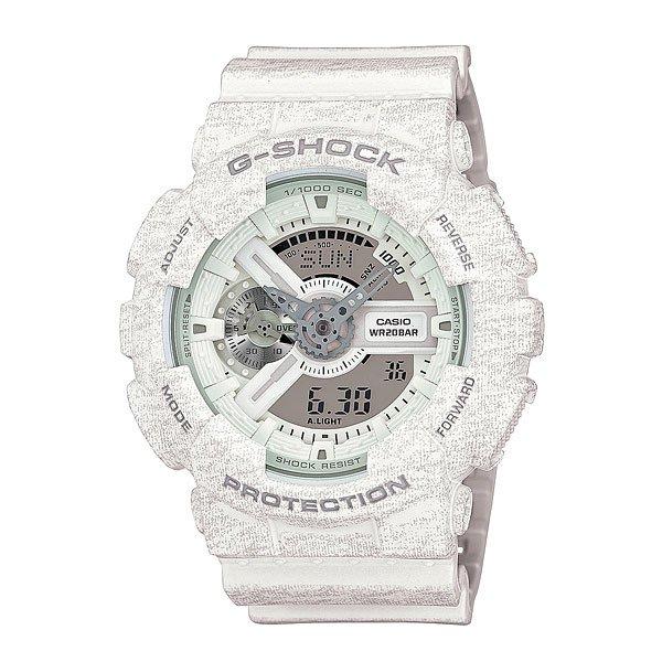 Часы Casio G-Shock Ga-110ht-7a WhiteCasio G-Shock GA-110 – это очень интересная модель наручных часов от японской фирмы. Данная модель относится к мужскому типу. Корпус выполнен из качественного пластика, а ремешок из текстиля. Разумеется, как и многие модели Casio, данные часы «неубиваемые», с ними можно купаться, заниматься активным образом жизни и не волноваться о сохранности аксессуара. Более того, у модели есть несколько интересных функций: вечный календарь, секундомер, мировое время, 5 будильников. Для удобства установлена подсветка дисплея, автоматизированная. Характеристики: Светодиодная подсветка дисплея и стрелок. Ударопрочная конструкция защищает от ударов и вибрации. Функция мирового времени.Отображение времени: аналоговый + цифровой, формат 12/24 часа, секундная стрелка отсутствует.Таймер с минутной точностью и автоповтором. 5 ежедневных будильников, сигнал каждый час. Включение/выключение звука кнопок.   Индикатор запаса хода, второй часовой пояс, будильник. Вечный календарь, число, месяц, день недели.Прочное, устойчивое к царапинам минеральное стекло защищает часы от повреждений.Корпус из полимерного пластика и нержавеющей стали. Ремешок из полимерного материала. Водонепроницаемость (20 Бар/200 м). Защитная функция антимагнит – элемент питания CR1220.<br><br>Цвет: белый<br>Тип: Кварцевые часы<br>Возраст: Взрослый<br>Пол: Мужской