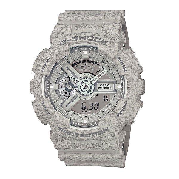 Часы Casio G-Shock Ga-110ht-8a GreyCasio G-Shock GA-110 – это очень интересная модель наручных часов от японской фирмы. Данная модель относится к мужскому типу. Корпус выполнен из качественного пластика, а ремешок из текстиля. Разумеется, как и многие модели Casio, данные часы «неубиваемые», с ними можно купаться, заниматься активным образом жизни и не волноваться о сохранности аксессуара. Более того, у модели есть несколько интересных функций: вечный календарь, секундомер, мировое время, 5 будильников. Для удобства установлена подсветка дисплея, автоматизированная. Характеристики: Светодиодная подсветка дисплея и стрелок. Ударопрочная конструкция защищает от ударов и вибрации. Функция мирового времени.Отображение времени: аналоговый + цифровой, формат 12/24 часа, секундная стрелка отсутствует.Таймер с минутной точностью и автоповтором. 5 ежедневных будильников, сигнал каждый час. Включение/выключение звука кнопок.   Индикатор запаса хода, второй часовой пояс, будильник. Вечный календарь, число, месяц, день недели.Прочное, устойчивое к царапинам минеральное стекло защищает часы от повреждений.Корпус из полимерного пластика и нержавеющей стали. Ремешок из полимерного материала. Водонепроницаемость (20 Бар/200 м). Защитная функция антимагнит – элемент питания CR1220.<br><br>Цвет: серый<br>Тип: Кварцевые часы<br>Возраст: Взрослый<br>Пол: Мужской