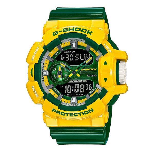 Часы Casio G-Shock Ga-400cs-9a Yellow/GreenЧасы Casio GA-400 являются ударопрочным и антимагнитным многофункциональным часовым продуктом на резиновом ремешке. У описываемых часов очень удобный элемент управления в форме колеса прокрутки. Обладатель этих часов может считывать информацию о текущем времени с этого часового продукта любым удобным для него способом – стрелками и цифрами. Casio GA-400-1A - часы с оригинальным дизайном, сочетающий черный и белый цвета.Характеристики: Светодиодная подсветка дисплея и стрелок. Ударопрочная конструкция защищает от ударов и вибрации. Функция мирового времени.Отображение времени: аналоговый + цифровой, формат 12/24 часа, секундная стрелка отсутствует.Таймер с минутной точностью и автоповтором. 5 ежедневных будильников, сигнал каждый час.Второй часовой пояс.Прочное, устойчивое к царапинам минеральное стекло защищает часы от повреждений.Корпус из полимерного пластика и нержавеющей стали. Ремешок из полимерного материала. Водонепроницаемость (20 Бар/200 м).<br><br>Цвет: желтый,зеленый<br>Тип: Электронные часы<br>Возраст: Взрослый<br>Пол: Мужской
