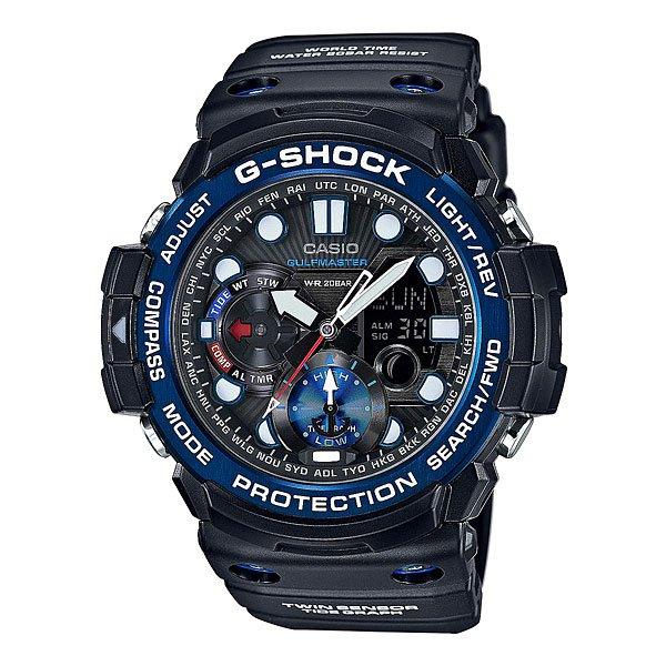 Часы Casio G-Shock Gn-1000b-1a BlackВсе преимущества ударопрочных и водостойких часов в исполнении премиум-класса. Цифроаналоговая модель из серии GULFMASTER к традиционному многофункциональному набору имеет датчики компаса и термометра. Отображение графика приливов/отливов и фаз Луны.Характеристики: Полностью автоматическая светодиодная LED-подсветка дисплея активируется как при нажатии соответствующей кнопки, так и при подъеме и повороте руки при недостаточной освещенности.Цифровой компас указывает направление на Север, точность измерений - 1°. Калибровка и учет магнитного склонения.Термометр измеряет температуру окружающей среды в диапазоне от –10 до 60°C (14 - 140°F), точность измерений - 0.1°C (0.2°F).Индикация лунных фаз. График приливов с указанием уровня для данной даты и времени. Отображение времени в 29 часовых поясах с обозначением основных городов в этих временных зонах. Секундомер с точностью показаний 1/100сек и максимальным временем измерения 1 час. Таймер обратного отсчета с функций повтора, рассчитанный на время до 1 часа. С функцией автоповтора. Ежечасный сигнал и 5 ежедневных будильников, один с функцией повтора «snooze». Автоматический календарь не требует дополнительных настроек и показывает дату, день недели и месяц, которые могут быть настроены вплоть до 2099 года.Отображение текущего времени в 12 или 24-часовом формате.Включение/выключение звука кнопок. Изменение положения стрелок так, чтобы они не закрывали жидкокристаллический дисплей и вспомогательные индикаторы.Комбинированный корпус с фирменной для G-Shock конструкцией из полимерного кожуха и стального внутреннего контейнера из нерж. стали. Безель из нержавеющей стали с IP-покрытием. Минеральное стекло устойчивое к возникновению царапин. Корпус часов специально спроектирован с повышенной устойчивостью к воздействию магнитных полей. Сложный многоуровневый циферблат, аппликация часовых меток. Светонакопительный состав Neobrite на стрелках и разметке циферблата. Водостойкость 200 метров (20