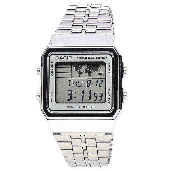 Часы Casio Collection A-500wea-1e GreyНаручные электронные часы с LED-подсветкой циферблата. Механизм японский оснащен спортивными функциями, временными, а также мировым временем.Характеристики: Точность хода не хуже -/+ 30 сек./в месяц.Японские электронные часы с многофункциональным механизмом.Календарь, будильник, ежечасный сигнал.Цифровой дисплей: часы, минуты, секунды, am/pm, число, день недели. Циферблат с LED-подсветкой.Функция повтора сигнала будильника (Snooze).Водостойкость 50 метров (5 АТМ). Браслет из нержавеющей стали. Срок службы батареи 5 лет.<br><br>Цвет: серый<br>Тип: Электронные часы<br>Возраст: Взрослый<br>Пол: Мужской