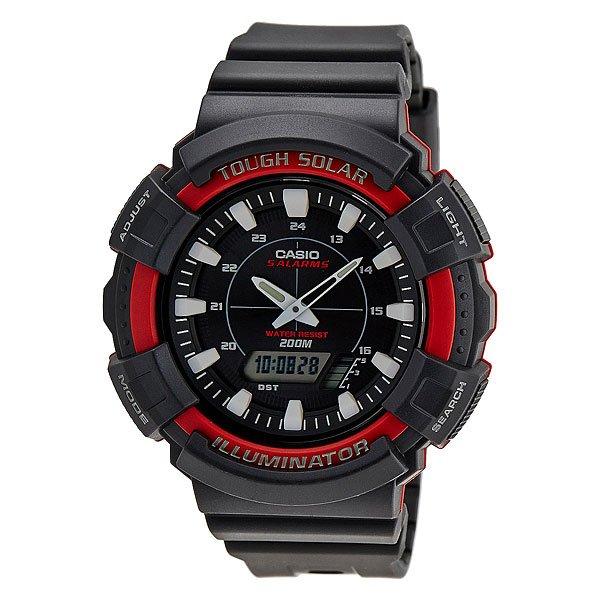 Часы Casio Collection Ad-s800wh-4a BlackНадежные и многофункциональные наручные часы с двойной цифро-аналоговой индикацией. Широкие функциональные возможности, работа от солнечных батарей, яркая светодиодная подсветка, имеющие достаточную водостойкость.Характеристики: Светодиодная подсветка.Функция мирового времени.Функция секундомера с точностью измерений 1/100 сек. и общим временем 1 час.Таймер обратного отчета с диапазоном от 1 минуты до 100 минут. 5 ежедневных будильников и ежечасный сигнал. Функция перемещения стрелок – при нажатии на кнопки стрелки перемещаются в положение, позволяющее видеть информацию на маленьких цифровых дисплеях. Включение/выключение звука кнопок. Автоматический календарь.Отображение времени в 12/24-часовом формате. Корпус часов специально спроектирован с повышенной устойчивостью к воздействию вибрации. Минеральное стекло устойчивое к возникновению царапин.Объемный циферблат. Водостойкость 200 метров (20 АТМ).  Ремешок из полимерного материала.<br><br>Цвет: черный<br>Тип: Кварцевые часы<br>Возраст: Взрослый<br>Пол: Мужской