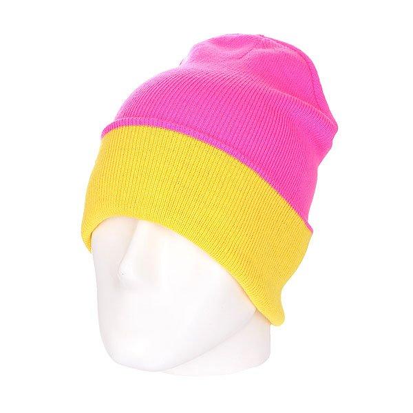 Шапка двусторонняя женская Skills New Reversible Beanie Pink/Yellow