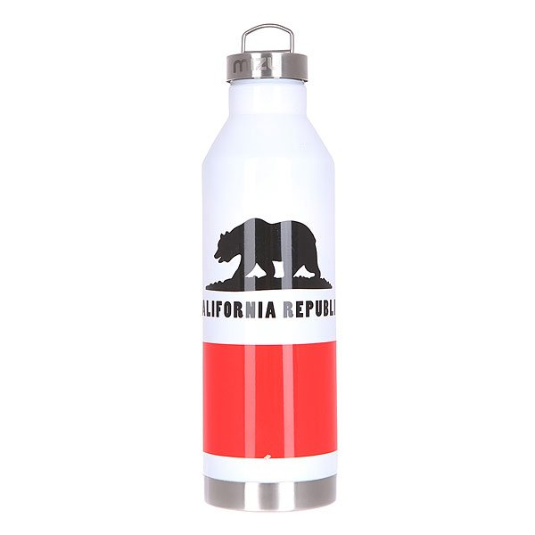 Бутылка для воды Mizu V8 800ml California Flag Glossy White W Steel Cap