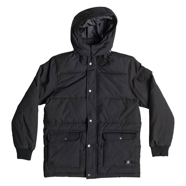 Куртка детская DC Arctic 2 BlackУниверсальная зимняя куртка для детей DC Arctic 2 для суровой зимней погоды. Модель свободного, прямого кроя способствует естественным движениям.Характеристики: Утеплитель: пух. Застежка –молния+кнопки. Фиксированный капюшон с регулировкой.  Два накладных кармана для рук. Два накладных кармана на груди. Эластичные манжеты на рукавах.Потайная регулировка ширины подола. Фасон: стандартный (regular fit).<br><br>Цвет: черный<br>Тип: Куртка<br>Возраст: Детский