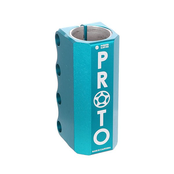 Зажимы Proto Scooters Full Knuckle Scs TealProto Full - самый простой, сильный и универсальный зажим.Технические характеристики: Подходит только для стандартных размеров руля.Проставка, болты, компрессионный якорь в комплекте.Материал - алюминий.<br><br>Цвет: голубой<br>Тип: Зажимы