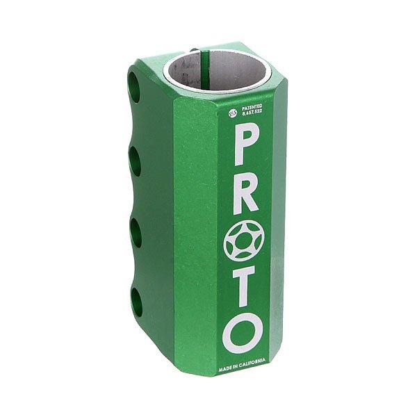 Зажимы Proto Scooters Full Knuckle Scs GreenProto Full - самый простой, сильный и универсальный зажим.Технические характеристики: Подходит только для стандартных размеров руля.Проставка, болты, компрессионный якорь в комплекте.Материал - алюминий.<br><br>Цвет: зеленый<br>Тип: Зажимы