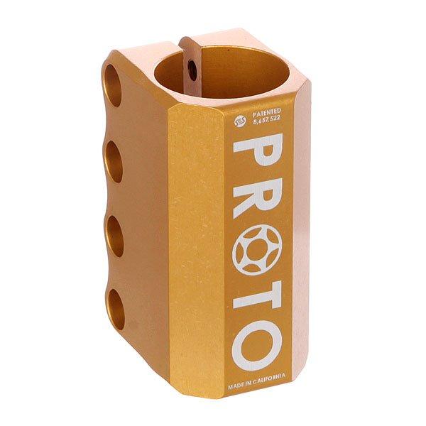 Зажимы Proto Scooters Baby Scs GoldЛегкий и прочный зажим Proto Baby является уменьшенной и облегчённой версией Proto Full, но не менее надежный!Технические характеристики: Для системы SCS.Компрессионная шайба, болты, компрессионный якорь в комплекте.Материал - алюминий.<br><br>Цвет: желтый<br>Тип: Зажимы