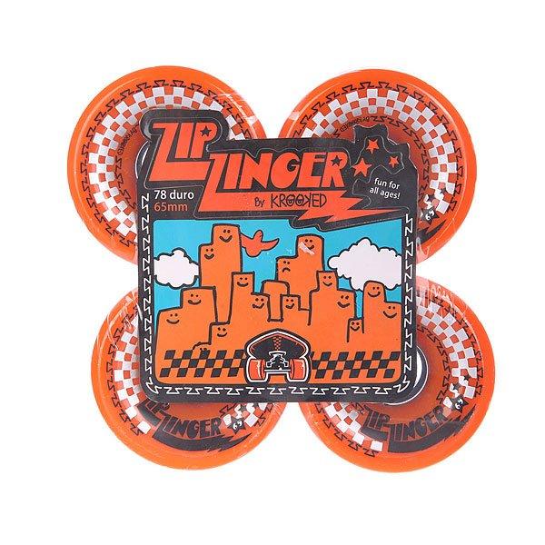 Колеса для скейтборда для лонгборда Krooked Zip Zinger Orange 78A 65 mmДиаметр: 65 mm    Жесткость: 78A    Цена указана за комплект из 4-х колес<br><br>Цвет: оранжевый<br>Тип: Колеса для лонгборда