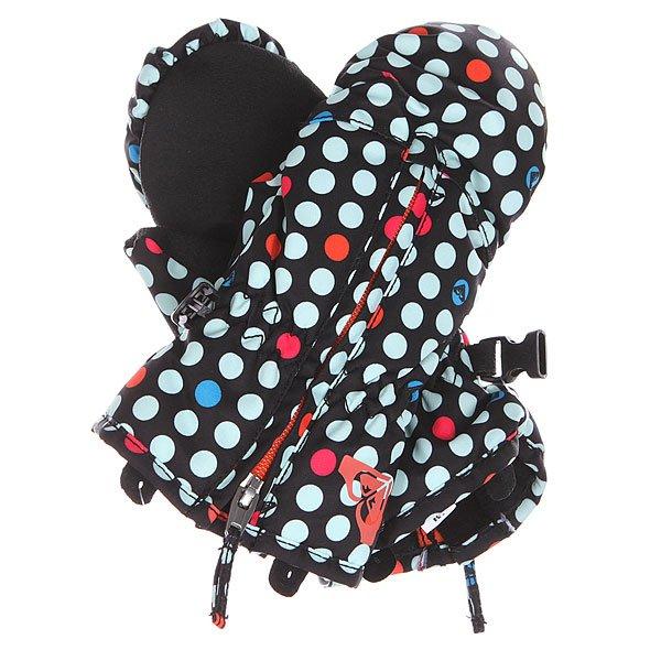 Варежки сноубордические детские Roxy Snows Up Mitt Dots SpotsСноубордические варежки Roxy для девочек из зимней коллекции технологичных спортивных аксессуаров. Характеристики: Водостойкая и дышащая мембранная ткань Dry Flight 5К (5 000 мм /5 000 г). Утеплитель 3M™ Thinsulate™ type J (160 г). Мягкая трикотажная подкладка с начесом. Эгрономичный крой. Застежка – молния.<br><br>Цвет: черный<br>Тип: Варежки сноубордические<br>Возраст: Детский