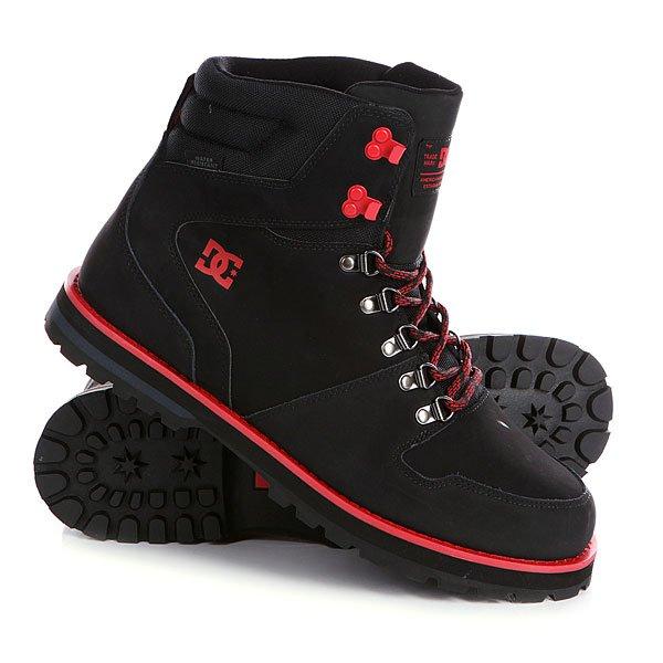 Ботинки высокие DC Peary Black/RedDC Peary Black/Red - мужские демисезонные высокие ботинки.                         Технические характеристики: Усиленный носок и пятка.Язык и воротник от бренда CORDURA. Металлические люверсы и крючки.Подкладка - текстиль. Подошва - резина.<br><br>Цвет: черный,красный<br>Тип: Ботинки высокие<br>Возраст: Взрослый<br>Пол: Мужской