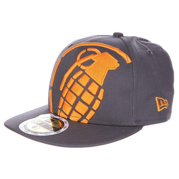 Бейсболка с прямым козырьком детская Grenade Big Crop Gray/Orange<br><br>Цвет: серый<br>Тип: Бейсболка с прямым козырьком<br>Возраст: Детский