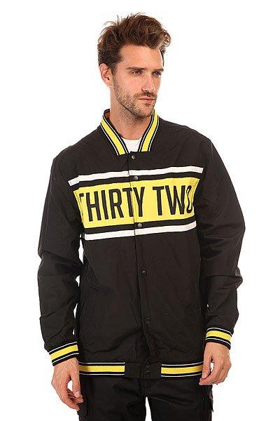 Бомбер Thirty Two Rebate Baseball Jacket BlackУдлиненный мужской бомбер для стильных мужчин.Характеристики:Внутренняя подкладка из хлопка.Эластичные резинки на воротнике, рукавах и подоле. Два прорезных кармана для рук. Фасон: стандартный (regular fit).<br><br>Цвет: черный<br>Тип: Бомбер<br>Возраст: Взрослый<br>Пол: Мужской
