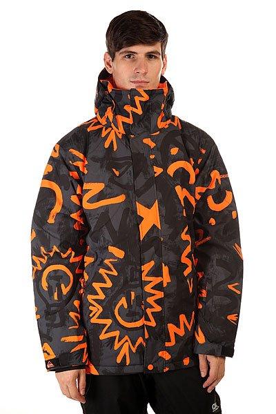 Куртка Quiksilver Mission Print Cave Rave BlackQuiksilver Mission Print - куртка, в которой сочетаются современные технологии и стильный дизайн. Современный утеплитель Polyfill обеспечит тепло и комфортное катание в течении всего дня.  Можете быть уверены что снег, ветер и непогода не помешают Вам получить максимум удовольствия от катания. Коллекция Snow Everyday.  Технические характеристики: Утеплитель - Polyfill 220 гр.Подкладка - влаговыводящая тафта.Водонепроницаемая мембрана Dry Flight 10K(10 000 мм/10 000г).Проклеенные швы.Высокий воротник-стойка.Сеточная вентиляция.Съемный капюшон.Система крепления штанов к куртке.Защита подбородка от натирания молнией из микрофибры.Два боковых кармана на молнии.Медиакарман.Карман для скипасса.Карман для маски.Фиксированная снежная юбка из синтетической тафты.Регулируемые манжеты на липучках.Подол с утяжкой.Застежка - молния+липучки.Клипса для ключей.Фасон: стандартный (regular fit).<br><br>Цвет: черный,оранжевый<br>Тип: Куртка утепленная<br>Возраст: Взрослый<br>Пол: Мужской