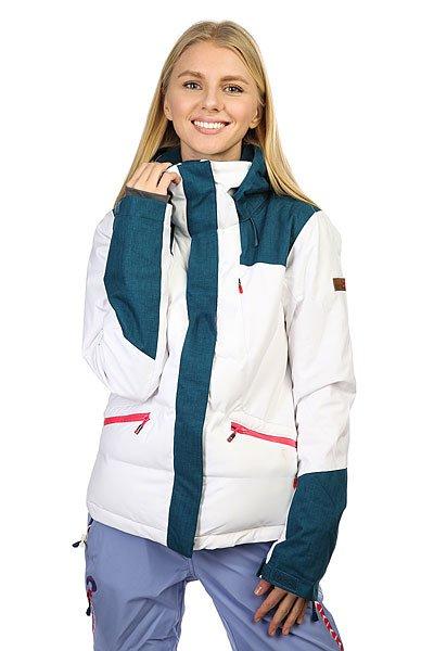 Куртка женская Roxy Flicker Jk Bright White BIOTHERMЖенская куртка для зимних видов спорта Roxy Flicker. Сделана из полиэстера, одобренного международной экологической организацией Bluesign®.Характеристики:Водостойкая и дышащая мембрана DRY-FLIGHT 15K (15 / 15). Критические швы проклеены. Утеплитель: тело - 3M™ Thinsulate™ тип TIB (350 гр), рукава и плечи - 3M™ Thinsulate™ тип М (100гр). Легкая подкладка из тафеты.  Фиксированная снежная юбка. Система крепления к штанам. Карман для медиа. Карман для ски-пасса. Внутренний карман для маски с материалом для протирки линз. Регулируемые манжеты, внутренние эластичные манжеты.  Вентиляционные вставки под руками. Зауженный крой.<br><br>Цвет: белый,серый<br>Тип: Куртка утепленная<br>Возраст: Взрослый<br>Пол: Женский