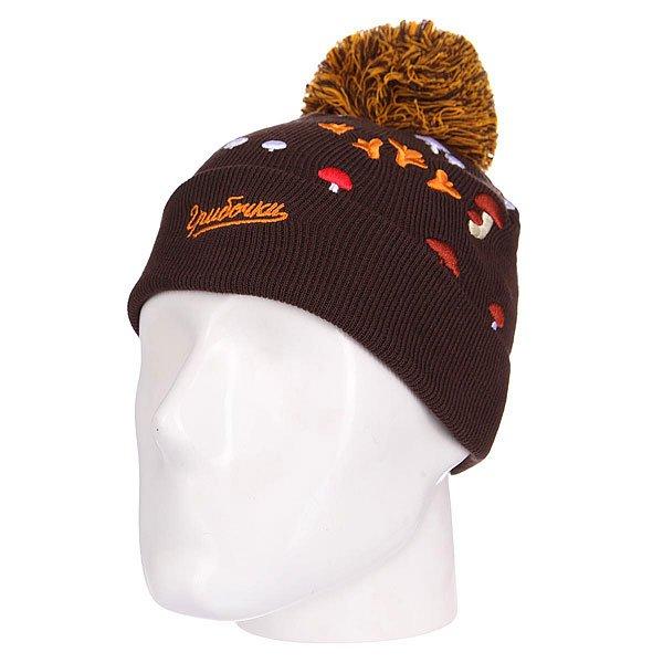 Шапка детская Запорожец Gribochki Kids BrownДетская шапка от российского бренда Запорожец, вдохновлённого советским наследием и современной российской эстетикой. Натуральный хлопок, классическая форма с отворотом и объёмным помпоном.Технические характеристики: Мелкая вязка.Отворот с вышивкой.Вышивка с изображением грибочков.Большой помпон.<br><br>Цвет: коричневый<br>Тип: Шапка<br>Возраст: Детский
