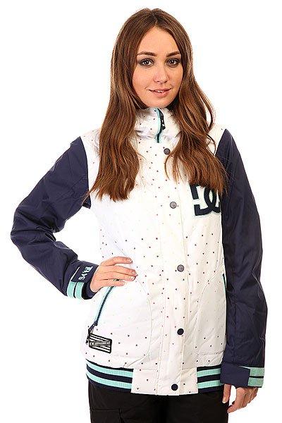 Куртка женская DC Dcla Jkt MinicatsОригинальная женская куртка в духе американских колледж-курток. У Вас есть возможность приобрести стильную куртку, которая также  отличается современным утеплителем 3M™ Thinsulate™ и влагостойкой тканью Exotex 10K. Функциональная куртка DC DCLA снабжена дополнительными манжетами из лайкры и снегозащитной юбкой, поэтому Вы наверняка сможете избежать попадания снега под одежду, а высокий ворот и регулируемый капюшон несомненно порадуют Вас в ветреную погоду и метель.  Технические характеристики: Подкладка - тафта.Водонепроницаемая мембрана Exotex 10K (10 000 мм / 10 000 г).Критические швы проклеены.Фиксированный капюшон.Капюшон с 3 вариантами регулировки.Высокий воротник стойка.Вентиляционные отверстия на молнии.Два боковых кармана на молнии.Внутренний сетчатый карман на липучке.Карман для ски-пасса.Карман для медиа.Фиксированная снежная юбка.Регулируемые манжеты на липучках.Лайкровые манжеты с отверстием для большого пальца.Застежка - молния+кнопки.Фасон - стандартный (regular fit).<br><br>Цвет: белый,синий<br>Тип: Куртка утепленная<br>Возраст: Взрослый<br>Пол: Женский