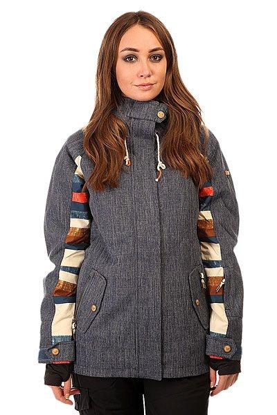 Куртка женская Roxy Lodge Denim BlueСноубордическая куртка для тех, кто считает функциональность важнее броского внешнего вида. Водостойкая мембрана Dry Flight 10K, утеплитель 3M™ Thinsulate и проклеенные критические швы гарантируют сухость и тепло в удивительно тонком корпусе куртки, а свободный крой Tailored обеспечит комфорт и полную свободу движений.Характеристики:Водостойкая и дышащая мембрана Dry Flight 10K (10 000 мм /10 000 г). Утеплитель 3M™ Thinsulate™ Type M: 80 г тело, 40 г капюшон и рукава. Подкладка из тафты. Свободный крой Tailored. Проклеенные критические швы.  Снегозащитная юбка. Система крепления куртки к штанам. Воротник с микрофиброй для защиты подбородка. Регулируемые внешние манжеты на липучке. Эластичные внутренние манжеты. Медиа-карман на молнии. Внутренний карман для маски с тряпочкой для протирания линзы. Утепленные боковые карманы. Карман для ски-пасса на рукаве. Сетчатые карманы для вентиляции. Карабин для ключей. Водостойкие молнии YKK®.Коллекция Treeline.<br><br>Цвет: синий<br>Тип: Куртка утепленная<br>Возраст: Взрослый<br>Пол: Женский