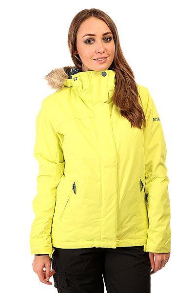 Куртка женская Roxy Jet Ski Sold Jk LimeadeКуртка Roxy Jet Ski позаботится о том, чтобы Вы оставались в тепле, сухости и комфорте на протяжении всего дня катания в любых погодных условиях и всегда наслаждались приятным катанием. Дышащая мембранная ткань Dry Flight 10К и проклеенные критические швы не допустят промокания, внутренние эластичные манжеты и снегозащитная юбка защитят от попадания снега под одежду, а 280 г утеплителя и трикотажная подкладка с начесом обеспечат тепло и уют. Характеристики:Водостойкая и дышащая мембранная ткань Dry Flight 10К (10 000 мм /10 000 г). Утеплитель 120 г тело, 100 г рукава, 60 г капюшон. Подкладка из тафты и трикотажа с начесом. Зауженный крой SlimFit. Проклеенные критические швы. Съемный капюшон регулируется в трех направлениях.  Снегозащитная юбка. Система крепления куртки к штанам. Клипса для ключей. Медиа-карман. Внутренний карман для маски. Карманы для рук на молнии. Внутренние эластичные манжеты из лайкры с отверстиями для больших пальцев. Карман для ски-пасса на рукаве. Карманы для вентиляции на молнии.<br><br>Цвет: желтый<br>Тип: Куртка утепленная<br>Возраст: Взрослый<br>Пол: Женский