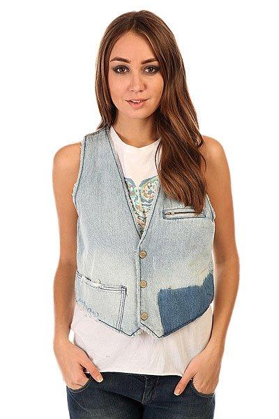Жилет женский Insight Denim In Furs Vest Worn Out Vintage<br><br>Цвет: синий<br>Тип: Жилет<br>Возраст: Взрослый<br>Пол: Женский