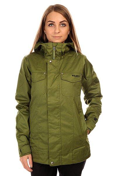 Куртка женская Burton Twc Damsels Jk PestoBurton TWC Damsels Jacket — женская сноубордическаякурткаBurton из серии TWC.Характеристики:Материал: двухслойный полиэстер DRYRIDE Durashell™. Зауженный крой TWC Slim Fit. Утеплитель — Thermacore Insulation, 80г на туловище, 60г на рукавах, 40г на капюшоне. Съемная снегозащитная юбка с возможностью фиксации к штанам. Вентиляционные отверстия. Все швы проклеены. Мягкий комфортный воротник. Фиксированный регулируемый капюшон. Съемная снежная юбка. Система крепления к штанам. Материалы куртки соответствуют стандартам bluesign®.<br><br>Цвет: зеленый<br>Тип: Куртка утепленная<br>Возраст: Взрослый<br>Пол: Женский