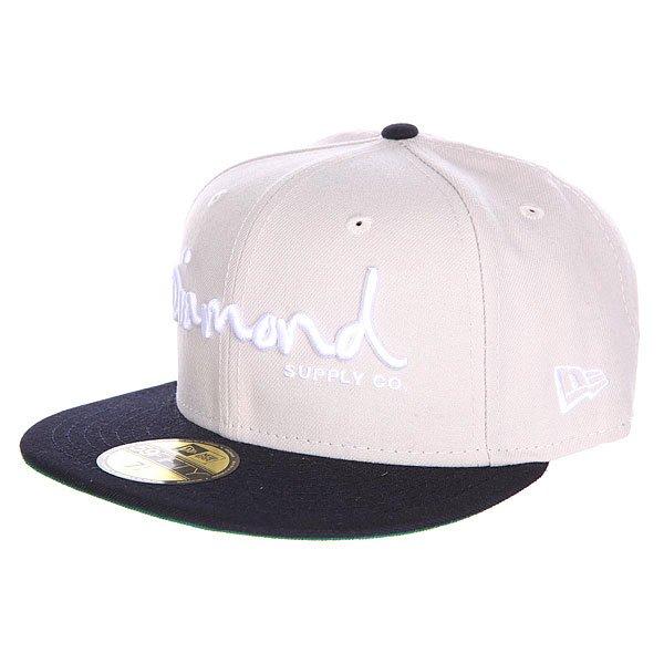 Бейсболка с прямым козырьком Diamond Og Script Fitted Hat Tan<br><br>Цвет: бежевый,синий<br>Тип: Бейсболка с прямым козырьком<br>Возраст: Взрослый