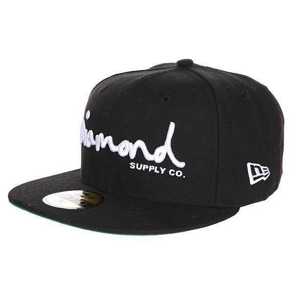 Бейсболка с прямым козырьком Diamond Og Script Fitted Hat Black<br><br>Цвет: черный<br>Тип: Бейсболка с прямым козырьком<br>Возраст: Взрослый<br>Пол: Мужской