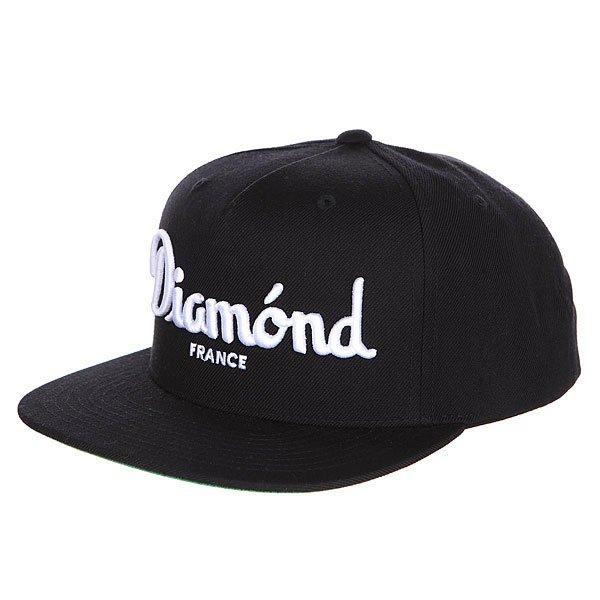 Бейсболка с прямым козырьком Diamond Champagne Snapback Black<br><br>Цвет: черный<br>Тип: Бейсболка с прямым козырьком<br>Возраст: Взрослый<br>Пол: Мужской
